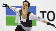 Alena Leonova of Russia performs during the women's short program at the ISU World Figure Skating Championships in Nice. (VINCENT KESSLER/Reuters)