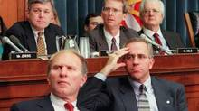 Bob Inglis, left, is pictured as part of a U.S. House Judiciary subcommittee during the Bill Clinton impeachment investigation. Mr. Inglis is heading to Ottawa this week to promote non-partisan debate on carbon pricing. (Luke Frazza/AFP)
