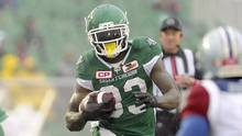 Saskatchewan Roughriders running back Joe McKnight (33) runs the ball during second half CFL action against the Montreal Alouettes, in Regina on Saturday, October 22, 2016. (Mark Taylor/THE CANADIAN PRESS)