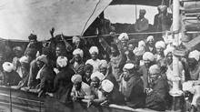 Sikhs aboard the Komagata Maru in Vancouver Harbour in 1914. (Library and Archives Canada)
