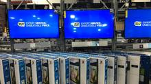 Televisions are seen on display inside a Best Buy store Westbury, New York. (SHANNON STAPLETON/REUTERS)