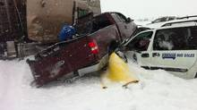 A multi-car accident south of Edmonton, Alberta in Leduc Thursday, March 22, 2013. (Derek Fildebrandt)