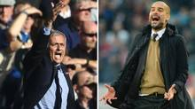 A combination of pictures created in London on September 8, 2016 shows Chelsea's Portuguese manager Jose Mourinho reacting during the English Premier League football match between Chelsea and Liverpool at Stamford Bridge in London on October 31, 2015, and Bayern Munich's Spanish head coach Pep Guardiola reacts during the German first division Bundesliga football match Hannover 96 vs FC Bayern Munich on December 19, 2015 in Hanover, central Germany. Manchester United welcome Manchester City to Old Trafford on September 10, 2016 in a derby match that sees opposing managers Jose Mourinho and Pep Guardiola renew their sulphurous rivalry. (NIGEL TREBLIN/AFP/Getty Images)