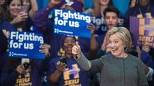 US Democratic presidential hopeful Hillary Clinton addresses a campaign rally Feb. 29, 2016 at George Mason University in Fairfax, Virginia. (PAUL J. RICHARDS/AFP/Getty Images)