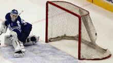 Toronto Marlies' Ben Scrivens gives-up a goal during the first period on Friday, June, 1, 2012, in Norfolk, Va. (L. Todd Spencer/AP)