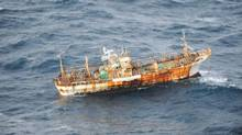 A Japanese fishing boat lost in the Pacific Ocean after the March 2011 earthquake and tsunami was sighted March 20 drifting 150 nautical miles of the southern coast of Haida Gwaii by the crew of an aircraft on a routine surveillance patrol. The vessel is considered an obstruction to navigation, and a Notice to Shipping has been issued by the Canadian Coast Guard. (DND/CP/DND/CP)