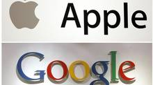 Apple and Google are fighting a good fight with each other while leaving behind traditional competitors like Microsoft. (STAFF/REUTERS)