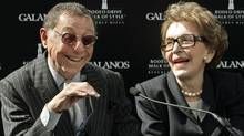 In this Oct. 18, 2007, file photo, fashion designer James Galanos, left, appears with former first lady Nancy Reagan, as he is honored with the Rodeo Drive Walk of Style Award in Beverly Hills, Calif. (Reed Saxon/AP)