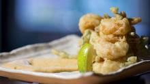 Kaffir Lime Dusted Popcorn Prawns Tempura Sea Asparagus, Spicy Mayo at Ensemble Tap Restaurant in Vancouver April 11, 2012. (John Lehmann/The Globe and Mail/John Lehmann/The Globe and Mail)