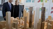 David Mirvish and architect Frank Gehry at a press conference at the AGO in Toronto on October 1, 2012. (Peter Power/The Globe and Mail)