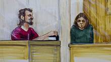 Bomb plot suspects John Nuttall, left, and Amanda Korody are depicted in a courtroom sketch during their appearance in provincial court in Surrey, B.C., on July 9, 2013. (Felicity Don/Reuters)