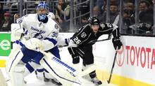 Ben Bishop, left, was acquired by the Kings from Tampa Bay on Sunday to serve in relief of starter Jonathan Quick. The move solidifies L.A's goaltending stable for what is expected to be a deep playoff run. (Harry How/Getty Images)