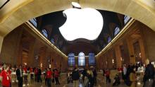 Apple's logo hangs inside the Apple Store in New York City's Grand Central Station. (MIKE SEGAR/REUTERS)