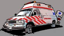 Broken down ambulance. (Anthony Jenkins/The Globe and Mail)