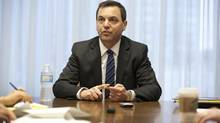 Progressive Conservative Party of Ontario leader Tim Hudak spoke with the Editorial Board at The Globe and Mail in Toronto, April 16, 2013. (Deborah Baic/The Globe and Mail)