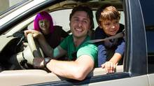 Joey King, left, Zach Braff and Pierce Gagnon in Wish I Was Here, a new film WISH I WAS HERE (2014). Credit: eOne Still of Zach Braff, Joey King and Pierce Gagnon in Wish I Was Here (2014) (Merie Weismiller Wallace, SMPSP)