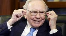 Berkshire Hathaway Chairman and CEO Warren Buffett gestures during an interview with Liz Claman on the Fox Business Network in Omaha, Neb., Monday, May 5, 2014. (Nati Harnik/AP)