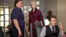 Actors Dot Jones, Jane Lynch and Matthew Morrison are shown in the season premiere of Glee airing Tuesday, Sept. 21. (AP)