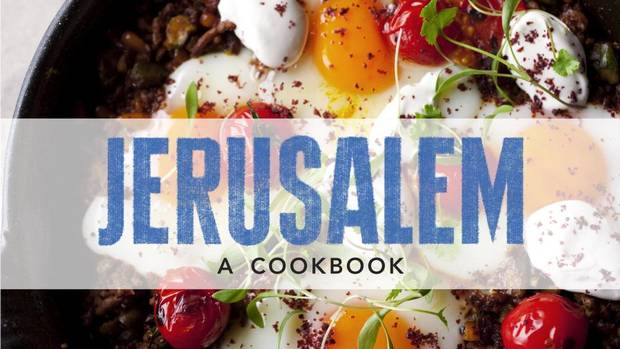 Jerusalem Cookbook Cover Recipe ~ Stuffed eggplant with lamb and pine nuts from the