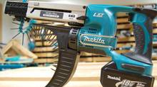 With its distinctive blue colour, a Makita nail gun. With only a small portion of its sales in Japan, Makita has managed to steamroll into fast-growing markets in the rest of Asia and South America, even grabbing part of the U.S. housing recovery. Makita shares increased by 65 per cent in 2012. (Wikipedia)