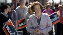 Alberta PC Leader Alison Redford makes a campaign stop in Calgary on Saturday. (John Lehmann/THE GLOBE AND MAIL)