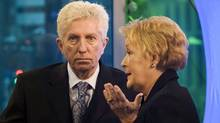 Bloc Qu�b�cois Leader Gilles Duceppe, left, listens to Parti Qu�b�cois Leader Pauline Marois during a federal election campaign stop at a PQ national policy convention in Montreal on April 17, 2011. (Graham Hughes/The Canadian Press)