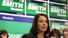 Wildrose party leader Danielle Smith makes a policy announcement in Okotoks, Alberta. (Jeff McIntosh/CP/Jeff McIntosh/CP)