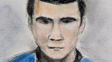 A sketch of Matthew de Grood appearing in a Calgary court on April 22, 2014. (Janice Fletcher/THE CANADIAN PRESS)