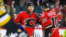 Calgary Flames defenseman Dennis Wideman (6) celebrates after scoring a goal against the Pittsburgh Penguins during the second period at the Scotiabank Saddledome in Calgary, on March 13, 2017. (Sergei Belski/USA Today Sports)