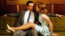 Mad Men's masculinity theme is personified by Don Draper, played by Jon Hamm, shown in a 2007 scene with Eleanor Ames, played by Megan Stier. (AMC/Courtesy Everett Collection)