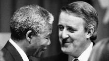 African National Congress leader Nelson Mandela is welcomed to Canada by Prime Minister Brian Mulroney at a state dinner in Toronto.