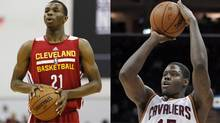Various media reports say the Cleveland Cavaliers have agreed to trade Canadians Andrew Wiggins, left, and Anthony Bennett to the Minnesota Timberwolves.