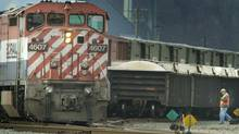A B.C. Rail train in the North Vancouver Rail Yard in 2003. (JOHN LEHMANN/The Globe and Mail)