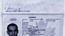 The false Canadian passport used by Algerian Ahmed Ressam when he lived in Canada and attempted to enter the United States. (NICK UT/AP)