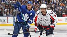 Alex Ovechkin of the Washington Capitals skates against Leo Komarov of the Toronto Maple Leafs on April 17, 2017. (Claus Andersen/Getty Images)