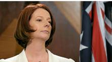 Australian Prime Minister Julia Gillard listens to question during a press conference after the day after Australia's general election in Melbourne on August 22, 2010. (WILLIAM WEST/WILLIAM WEST/AFP/Getty Images)