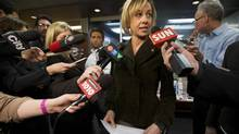 TTC chair Karen Stintz speaks to the media at Toronto City Hall on March 21, 2013, the day the federal budget is released. (MICHELLE SIU FOR THE GLOBE AND MAIL)