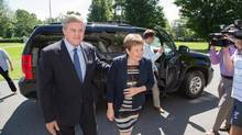 New Brunswick Premier David Alward and his wife Ronda arrive ahead of Alward's meeting with Lt.-Gov. Graydon Nicholas in Fredericton, N.B., on Monday, August 18, 2014. Premier Alward met with Lt. Gov. Nicholas to ask for the legislative assembly to be dissolved ahead of next month's provincial election. (Keith Minchin/THE CANADIAN PRESS)