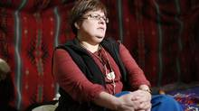 Attawapiskat Chief Theresa Spence speaks with journalists about her hunger strike in a teepee on Victoria Island in Ottawa Dec. 27, 2012. (CHRIS WATTIE/REUTERS)