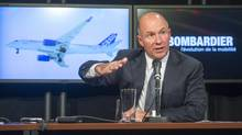 Alain Bellemare, president and Chief Executive Officer Bombardier Inc., speaks to the media at a news conference Thursday, October 29, 2015 in Montreal. (Ryan Remiorz/THE CANADIAN PRESS)