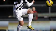 Juventus' Alessandro Matri shoots and scores against Chievo during their Italian Serie A soccer match at the Bentegodi stadium in Verona February 3, 2013. (Giorgio Perottino/REUTERS)