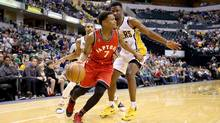 Kyle Lowry #7 of the Toronto Raptors dribbles the ball against the Indiana Pacers during the game at Bankers Life Fieldhouse on March 17, 2016 in Indianapolis, Indiana. (Andy Lyons/Getty Images)
