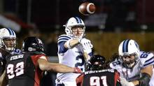 Quarterback Drew Willy (2) throws the ball against the Ottawa RedBlacks during second half CFL action on Friday, Sept. 23, 2016 in Ottawa. (Justin Tang/THE CANADIAN PRESS)