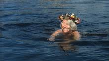 Finnish author Tove Jansson, creator of the Moomin comic strip, swimming near her summer home. (Globe and Mail Update)