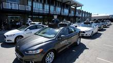 A fleet of Uber's Ford Fusion self driving cars are shown during a demonstration of self-driving automotive technology in Pittsburgh, Pennsylvania, U.S. September 13, 2016. (AARON JOSEFCZYK/REUTERS)