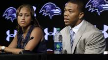NFL commissioner says he mishandled the case of Baltimore Ravens running back Ray Rice, right, who received a two-game suspension for domesticspeaks alongside his wife, Janay, during a news conference. (Patrick Semansky/AP)