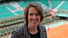 Former Belgian tennis player Justine Henin poses on top roof of the Philippe Chartrier court as she attends as TV consultant the quarter-final matches at the French Open tennis tournament at the Roland Garros stadium in Paris June 5, 2012. (Francois Lenoir/Reuters)