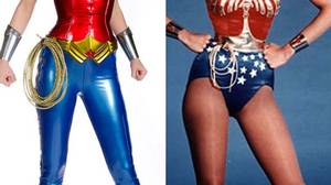 Adrianne Palicki in the new Wonder Woman get-up, and Linda Carter in the one she wore in the 1970s.