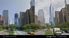 This illustration provided by Google highlights a new Google Maps Street View snapshots feature, which allow users to see what specific neighborhoods and landmarks looked like at different periods during the past seven years that Google Inc. has been dispatching camera-toting cars to take pictures for its maps. This image shows what the under construction One World Trade Center in New York looked like in April 2009, left, and August 2013, right. (Uncredited/THE ASSOCIATED PRESS)