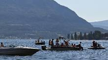 Speedboats gather near Copper Rock on Shuswap Lake near Salmon Arm, B.C. on July 8, 2010. (Jeff Bassett For The Globe and Mail)
